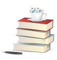 flower in cup on books pile with fountain pen vector image vector image