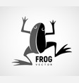 frog silhouette black and white logo vector image vector image
