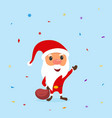 funny santa claus with a bag and candy around him vector image