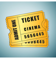 Gold cinema ticket icon isolated on blue vector image vector image