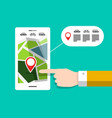 gps navigation - city map on mobile phone vector image
