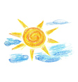 Hand Drawn Sun and Clouds2 vector image