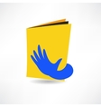 hand on the book icon vector image vector image
