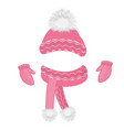 hat with a fluffy pompon scarf mittens set of vector image