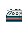 high-speed train subway tram flat color line vector image
