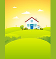 house in the fields vector image vector image