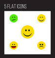 icon flat emoji set of sad grin dizzy emoticon vector image vector image