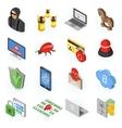 Internet Security isometric Flat Icon Set vector image