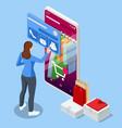 isometric smart phone online shopping clothing vector image