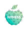 line icons in apple shape fitness vector image vector image