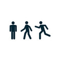 man stand walk and run pictogram icon man vector image vector image