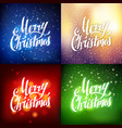 Merry christmas hand lettering greeting card set