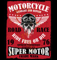 motorcycle poster skull tee graphic design vector image vector image