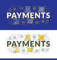 payments flat line concept for web banner and vector image vector image