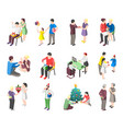 people with gifts isometric icons vector image vector image