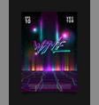 retrowave vaporwave synthwave glitched laser grid vector image vector image