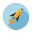 rocket flat icon long shadow vector image