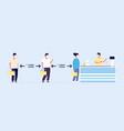 safe distance social precautions queue people vector image
