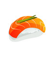 salmon sushi or sashimi wrapped with seaweed and vector image
