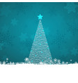 scribble christmas tree on a snowflake background vector image vector image