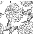 Seamless background with butterflies and dahlias