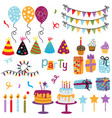set isolated happy birthday party decorations vector image vector image