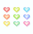 six variation color heart in collection vector image vector image