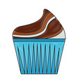 sweet cupcake cream delicious pastry drawing color vector image vector image