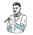 tattooed mustached barber vector image vector image