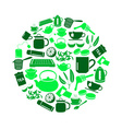 tea theme green simple icons set in circle eps10 vector image vector image