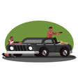 two mans skirmish on car vector image vector image