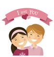 valentine day couple in love boy and girl with vector image vector image