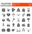 valentine glyph icon set romantic symbols vector image vector image