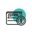 wallet bank card coin money shopping line style vector image vector image