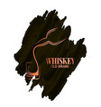 whiskey glass and bottle watercolor logo on white vector image