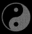 white halftone yin yang icon vector image