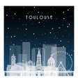 winter night in toulouse night city in flat style vector image vector image