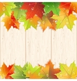Wooden texture decorated by autumn maple leaves vector image vector image