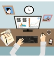 Workplace with Hands and Infographic in Flat vector image vector image