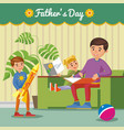 greeting happy fathers day concept vector image