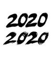 2020 new year banners with brush strokes numbers vector image