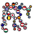 abstract gearing with different world flags vector image