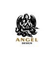 an angel with wings prays vector image vector image