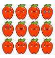 apple character funny cartoon set with different vector image
