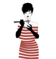 beautiful girl wearing striped clothes and black vector image