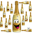 Bottle of Champagne funny cartoon vector image vector image