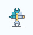 build design develop sketch tools flat icon green vector image vector image