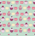 cakes and muffins seamless pattern design vector image