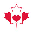 canada day maple leaf flag and heart celebration vector image vector image