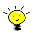 Cartoon of a smiling light bulb icon vector | Price: 1 Credit (USD $1)
